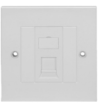 BNET 1 PORT FACEPLATE STRAIGHT OUTLET WHITE FOR RJ45 KEYSTONE MODULE UTP-FTP/STP BRITISH STANDARD (WITHOUT MODULE)