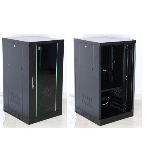 BNET Wall Cabinet 21U 600 x 600 with 2 Fans, 1 Fixed Shelf, Bracket Set, Black 9005