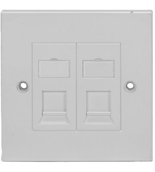 BNET 2 PORT FACEPLATE STRAIGHT OUTLET WHITE FOR RJ45 KEYSTONE MODULE UTP-FTP/STP BRITISH STANDARD (WITHOUT MODULES)