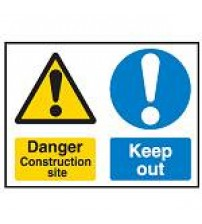 Construction Site Safety Sign - Multi-message - Danger construction site & Keep out