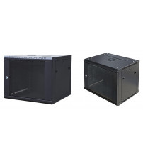 BNET WALL CABINET 12U 600X450 WITH 2 FANS, 1 FIXED SHELF, BLACK 9005