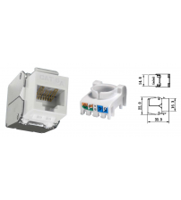 BNET CAT 6A UTP RJ45 TOOL-LESS KEYSTONE JACK/MODULE UNSHIELDED WHITE-SILVER