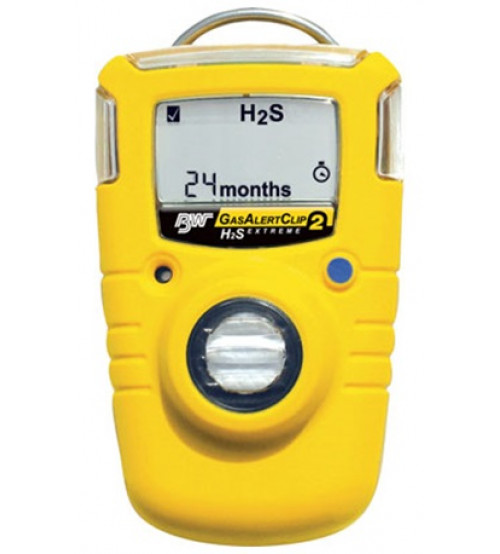 BW Clip, 2-Year Detectors - Hydrogen Sulfide (H2S) Single Gas Detector low alarm 5ppm  High alarm 10 ppm