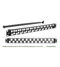 "BNET 24 PORT STAGGERED PATCH PANEL 19""/1U BLACK FOR 24x RJ45 KEYSTONE MODULES UTP ONLY (WITHOUT MODULES)"