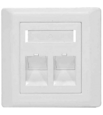 BNET 2 PORT FACEPLATE ANGLED OUTLET WHITE FOR RJ45 KEYSTONE MODULE UTP-FTP/STP BRITISH STANDARD (WITHOUT MODULES)