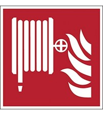 Brady 817039 Fire Fighting Laminated Polyester Sign, Fire Hose Reel, 200 mm x 200 mm, White on Red