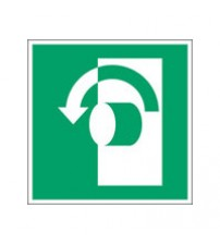 ISO Safety Sign - Turn anticlockwise to open
