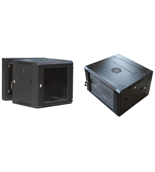 BNET WALL DOUBLE SECTION CABINET 9U 600X(500+100) WITH 2 FANS, 1 FIXED SHELF, BLACK 9005