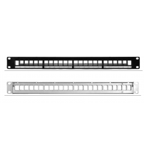 "BNET 24 PORT PATCH PANEL 19""/1U BLACK FOR 24x RJ45 KEYSTONE MODULES UTP-FTP/STP (WITHOUT MODULES)"